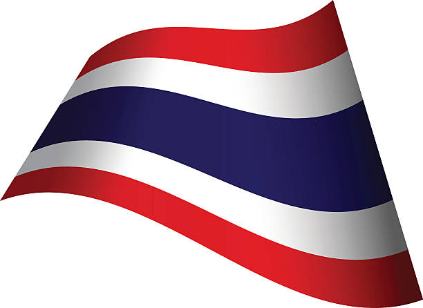 waving flag of thailand - thai flag stock illustrations, clip art, cartoons, & icons