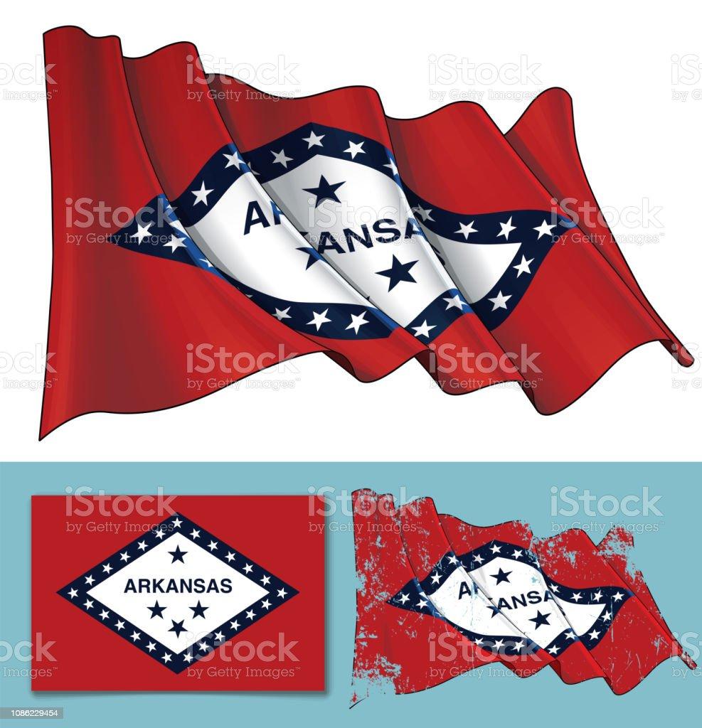 Waving Flag of the State of Arkansas vector art illustration