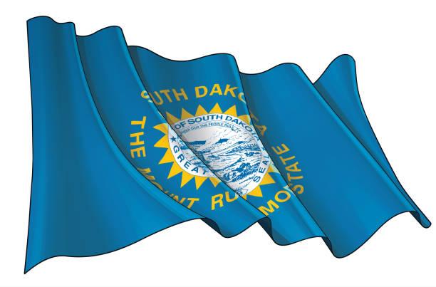 ilustraciones, imágenes clip art, dibujos animados e iconos de stock de bandera ondeando del estado de dakota del sur - mount rushmore
