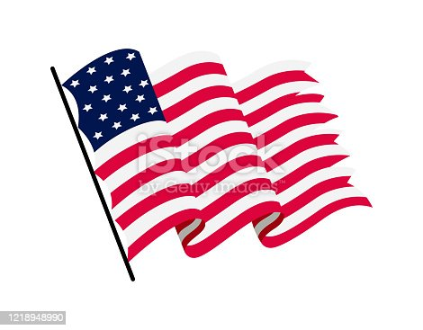 Waving flag of the United States of America. Illustration of wavy American Flag. National symbol, American flag on white background - vector illustration.