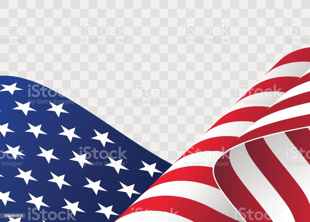 waving flag of the United States of America. illustration of wavy American Flag for Independence Day