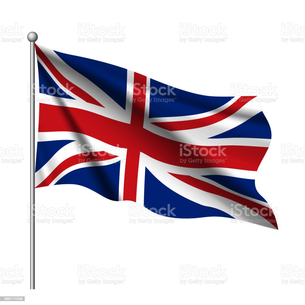 Waving flag of United Kingdom state. vector art illustration