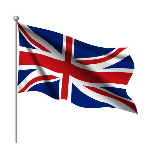 waving flag of united kingdom state. - union jack flag stock illustrations, clip art, cartoons, & icons