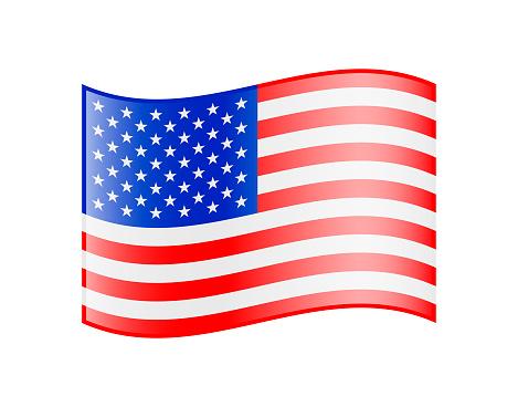 Waving Flag of USA. Glossy Icon