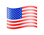 Waving Flag of USA. Glossy Icon