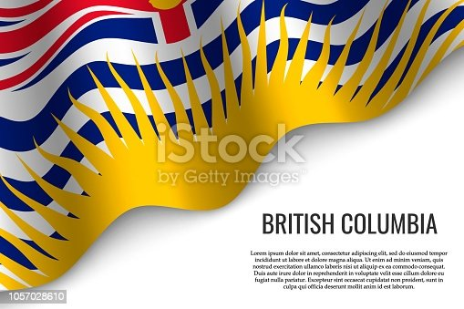 waving flag of British Columbia is a region of Canada on transparent background. Template for banner or poster.