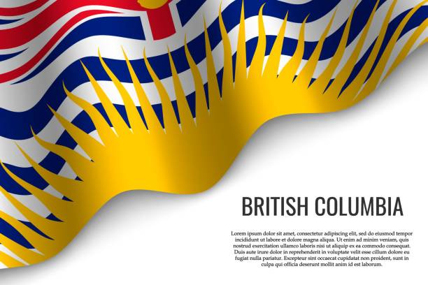 waving flag on transparent background. waving flag of British Columbia is a region of Canada on transparent background. Template for banner or poster. british columbia stock illustrations