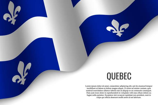 waving flag on transparent background. waving flag of Quebec is a region of Canada on transparent background. Template for banner or poster. quebec stock illustrations