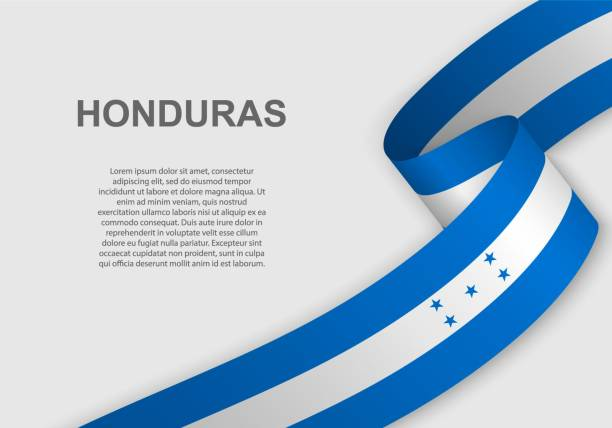 waving flag. Template for independence day waving flag of Honduras. Template for independence day. vector illustration honduras stock illustrations