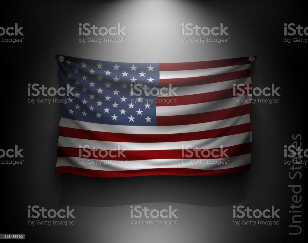 waving flag United States on a dark wall vector art illustration