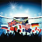 Vector silhouette drawing of fans in a packed stadium celebrating a goal with various national flags and flying confetti.