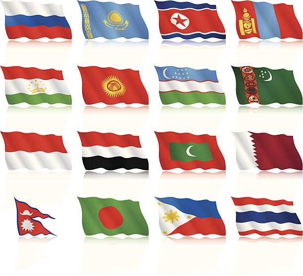 ilustraciones, imágenes clip art, dibujos animados e iconos de stock de agitando banderas colección-asia - bandera tailandesa