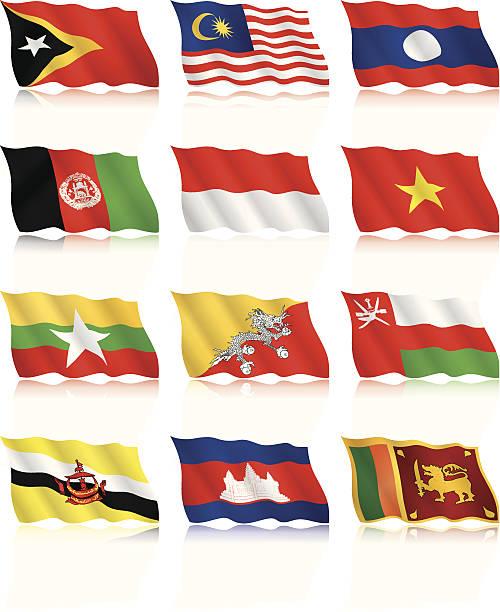 falując flags kolekcja-azja - oman stock illustrations