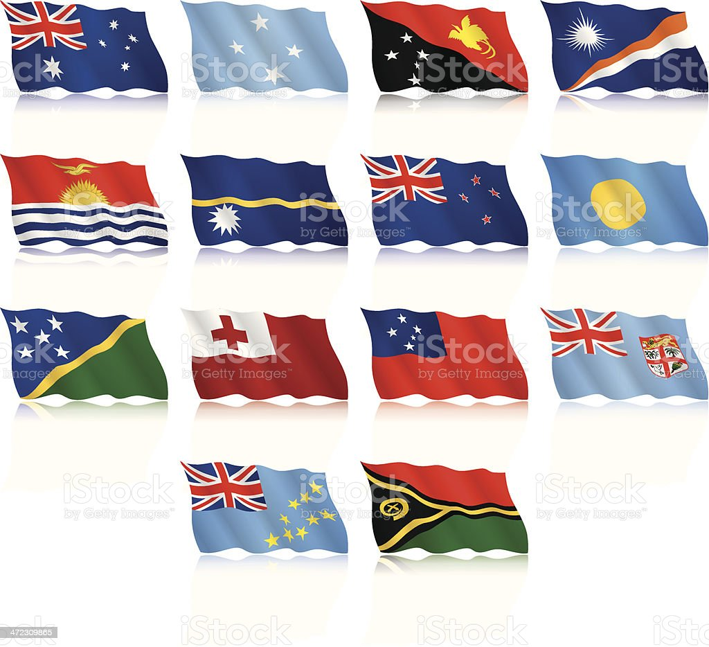 Waving Flags Collection - Australia and Oceania royalty-free stock vector art