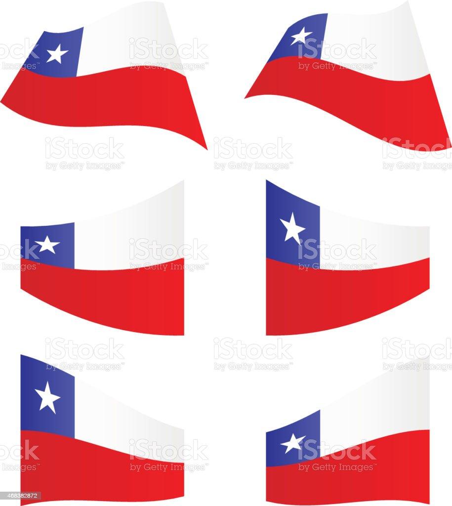 Agitando banderas de Chile - ilustración de arte vectorial
