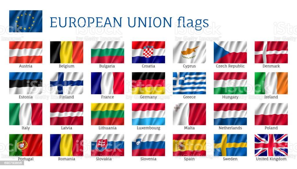 Agitando las banderas de la Unión Europea. - ilustración de arte vectorial