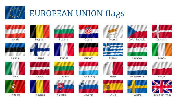 ilustraciones, imágenes clip art, dibujos animados e iconos de stock de agitando las banderas de la unión europea. - bandera irlandesa