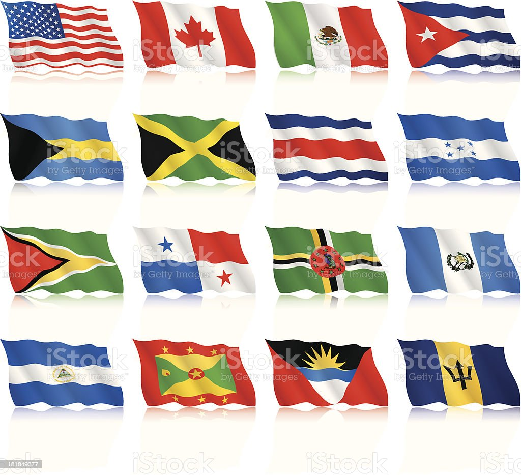 Waving Flags Of North And Central America Stock Illustration Download Image Now Istock