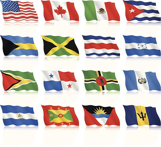 Agitando Flags del Norte y América Central - ilustración de arte vectorial