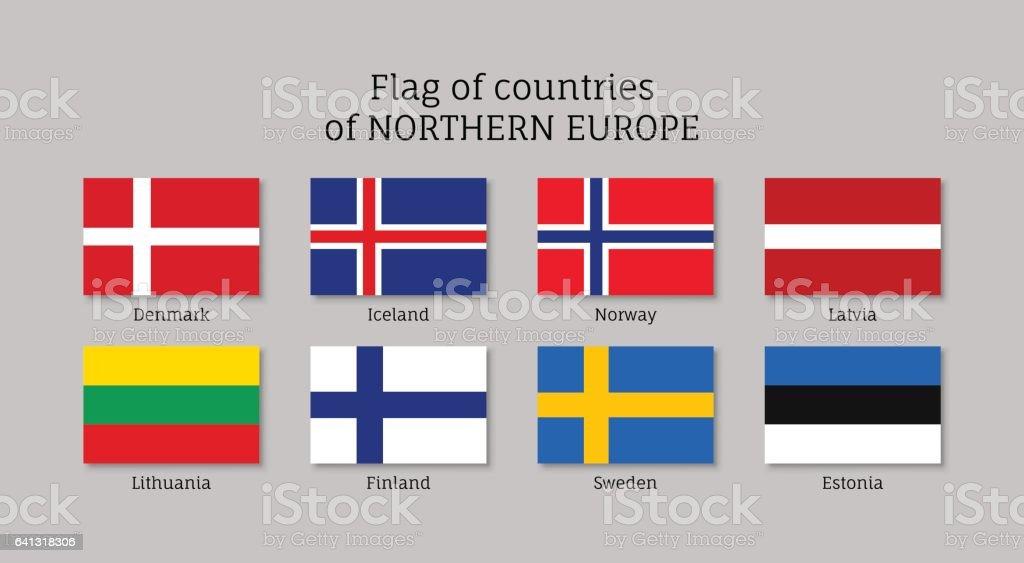 Wehende Fahnen der nordischen Länder. – Vektorgrafik