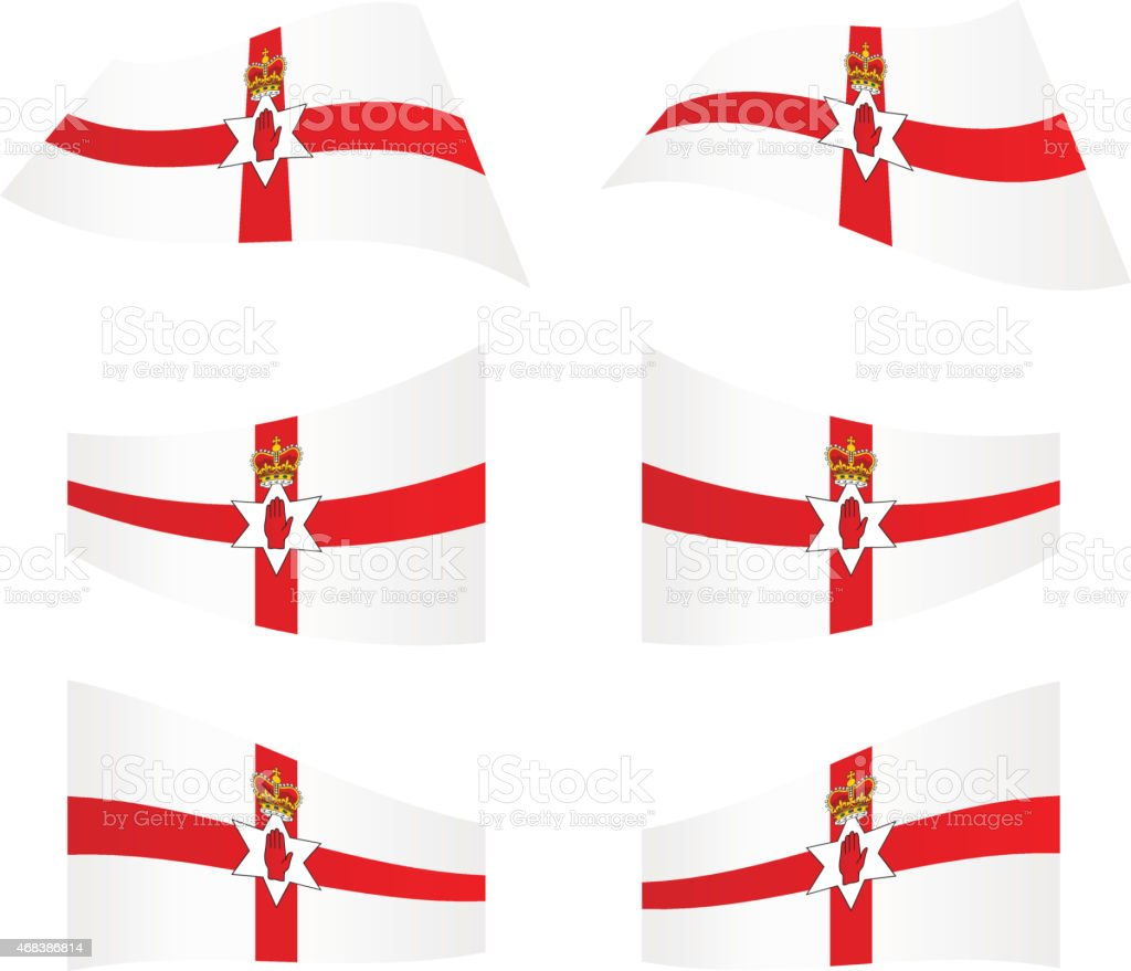Waving flags of Northern Ireland vector art illustration