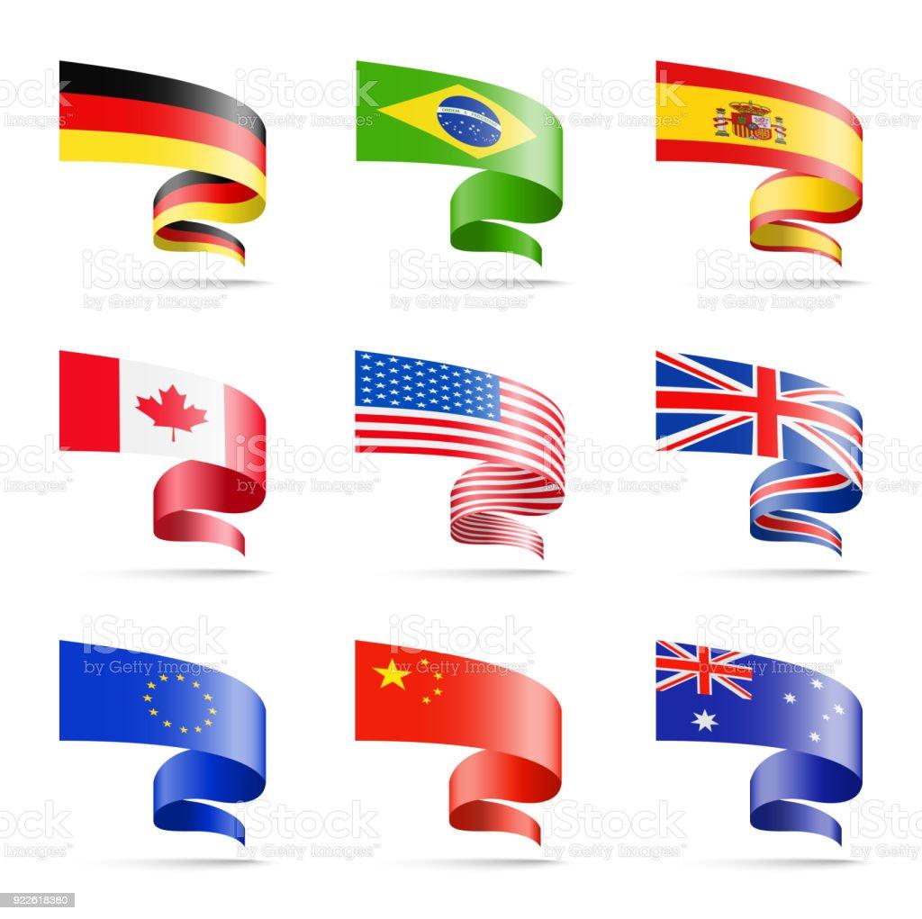 Wehende Fahnen der beliebtesten Länder in Form von Bändern auf einem weißen Hintergrund. – Vektorgrafik
