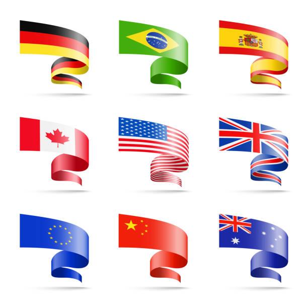wehende fahnen der beliebtesten länder in form von bändern auf einem weißen hintergrund. - flagge kanada stock-grafiken, -clipart, -cartoons und -symbole