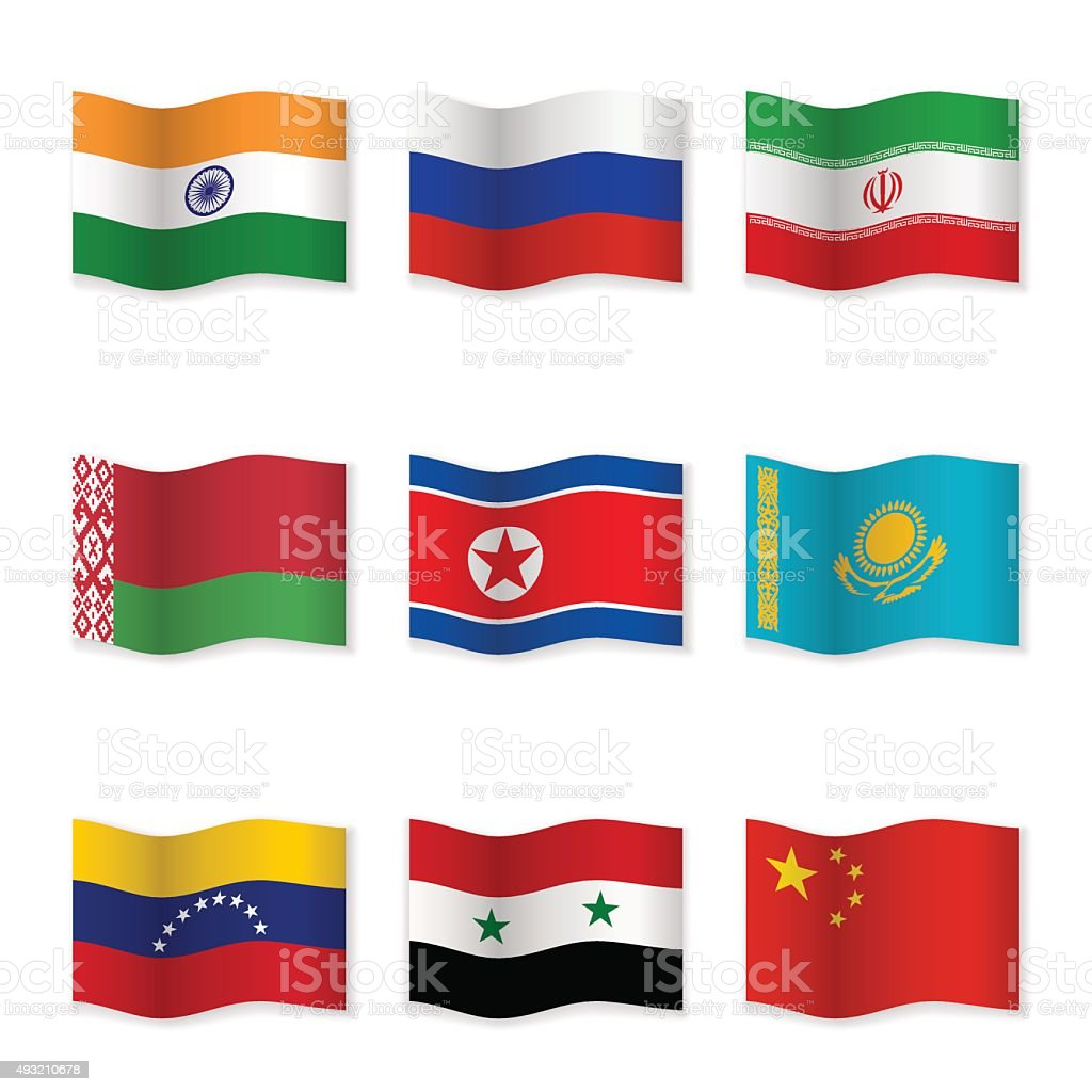 Waving flags of Russian ally countries vector art illustration