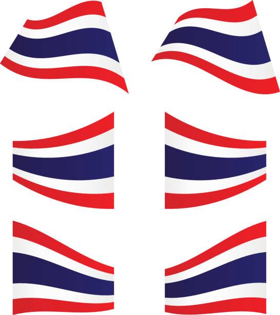 タイ旗を振る ベクターアートイラスト