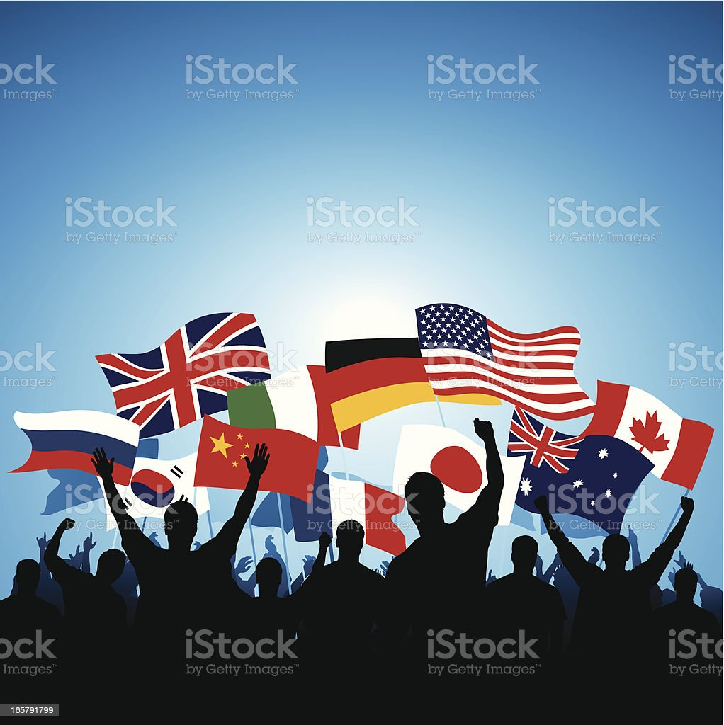 Waving flags royalty-free stock vector art
