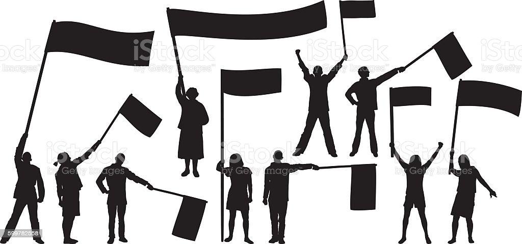 Waving Flags vector art illustration