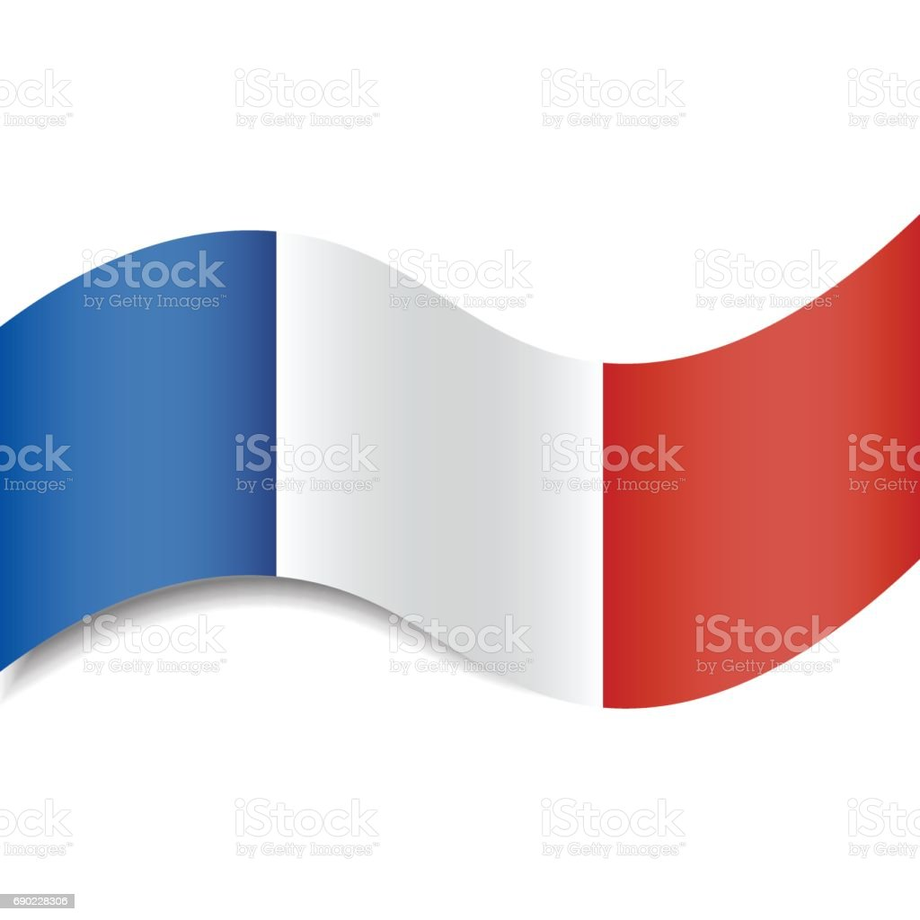 Waving French Flag or French Tricolour with a shadow made in a flat style isolated. Could be used as background, graphic element in vector illustrations, etc. vector art illustration