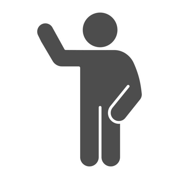 ilustrações de stock, clip art, desenhos animados e ícones de waving gesture solid icon. man with raised hand and lowered hand on the right glyph style pictogram on white background. hello pose for mobile concept and web design. vector graphics. - só adultos