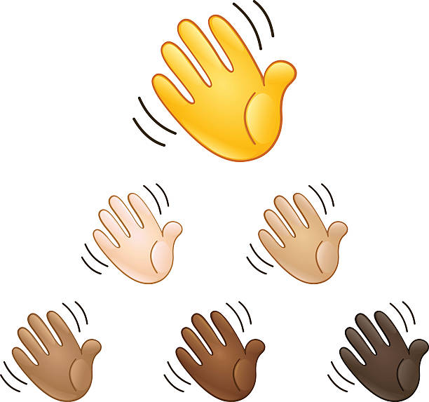 waving hand sign emoji - good bye stock illustrations, clip art, cartoons, & icons