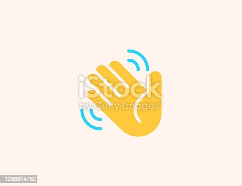 istock Waving Hand vector icon. Isolated Hand Wave, Hello, Goodbye gesture flat colored emoji symbol - Vector 1288814782