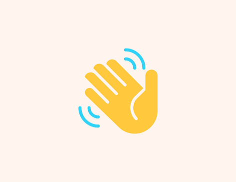 Waving Hand vector icon. Isolated Hand Wave, Hello, Goodbye gesture flat colored emoji symbol - Vector