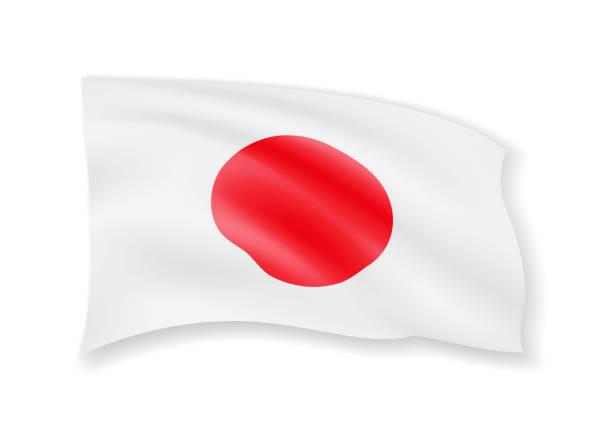 ilustraciones, imágenes clip art, dibujos animados e iconos de stock de ondeando la bandera de japón en blanco. bandera americana en el viento. - bandera japonesa