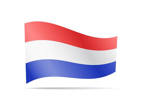 Nederlandse Vlag Zwaaien Op Wit Vlag In De Wind Stockvectorkunst en meer  beelden van Achtergrond - Thema - iStock