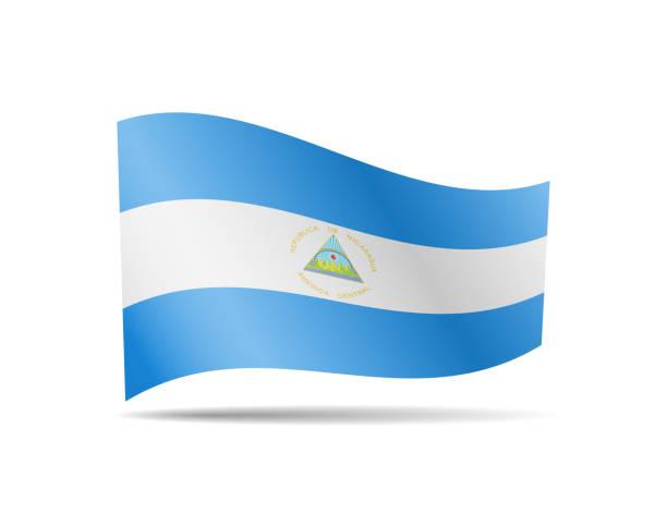 wavene nicaragua flagge im wind. flagge auf weißer vektorabbildung - managua stock-grafiken, -clipart, -cartoons und -symbole