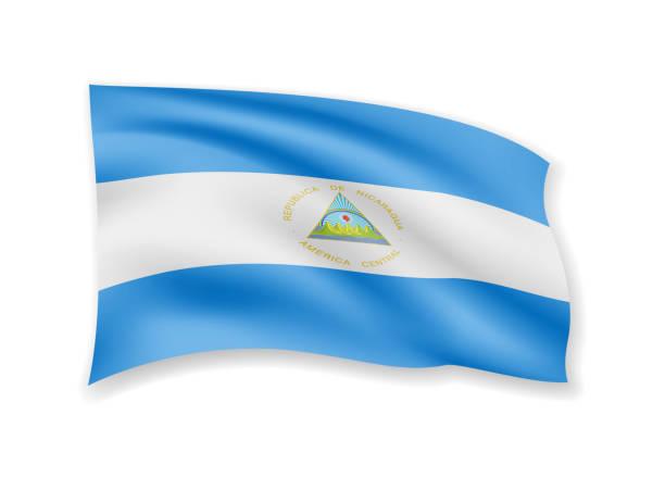 die flagge nicaraguas ist auf weiß. fahne im wind. - managua stock-grafiken, -clipart, -cartoons und -symbole