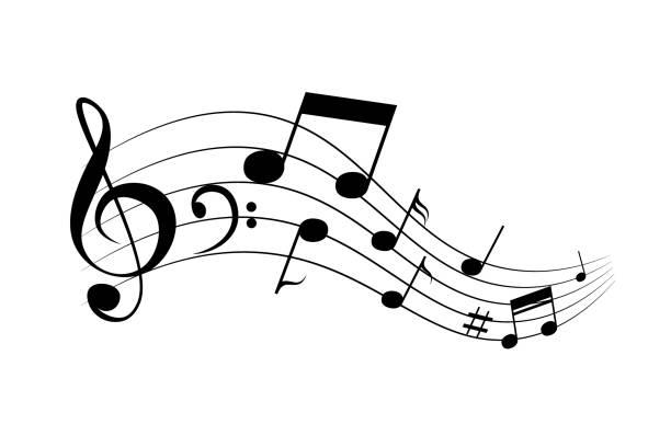 illustrations, cliparts, dessins animés et icônes de notes ondulantes et mélodie - musique