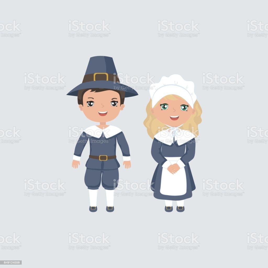 Waving pilgrim couple. vector art illustration