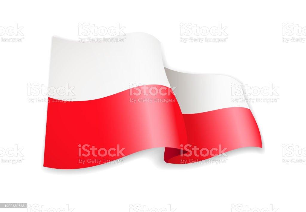 Winken Polen Flagge auf weiß. Flagge im Wind. – Vektorgrafik