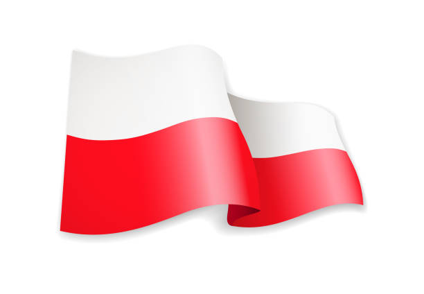 waving poland flag on white. flag in the wind. - polish flag stock illustrations, clip art, cartoons, & icons