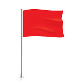 Waving red flag template.