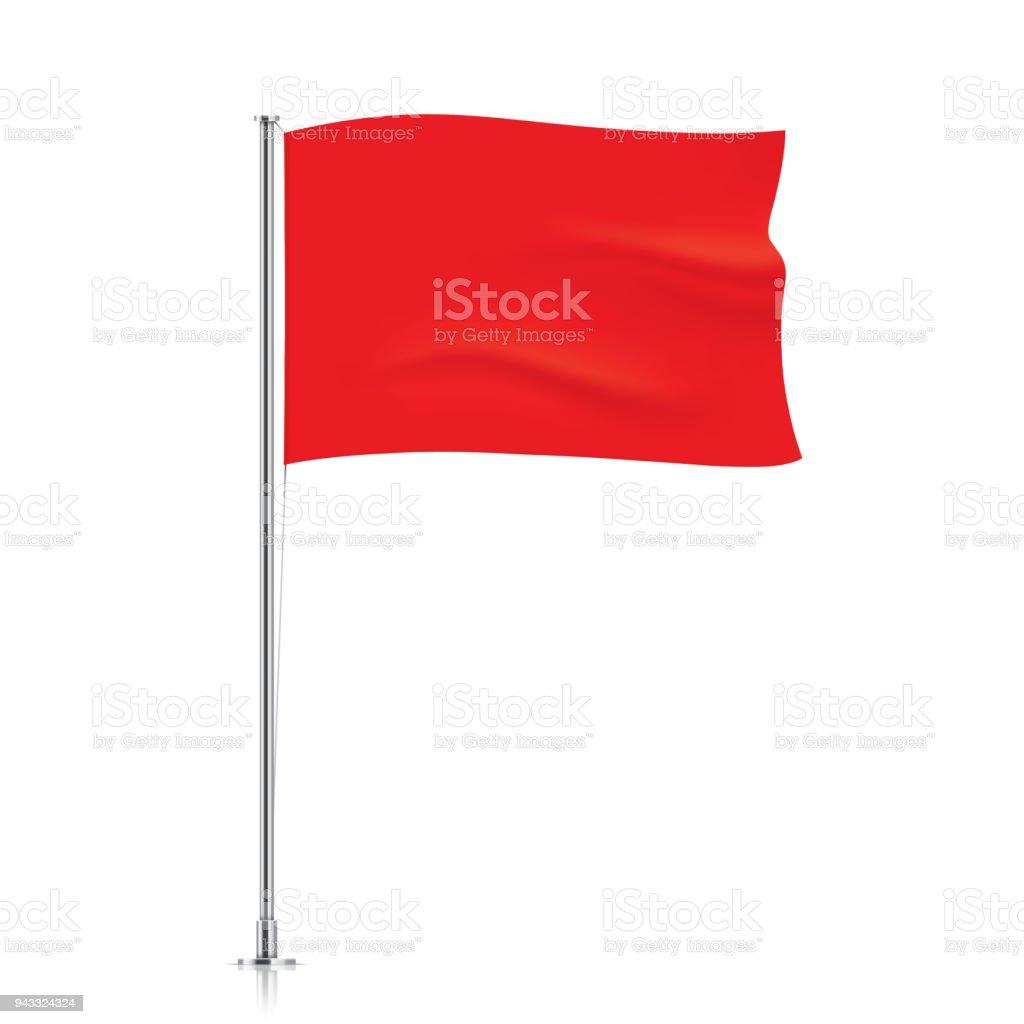 Waving red flag template. vector art illustration