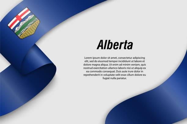 Waving ribbon or banner with flag Province of Canada Waving ribbon or banner with flag of Alberta. Province of Canada. Template for poster design alberta stock illustrations