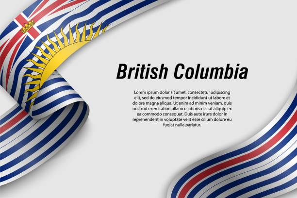 Waving ribbon or banner with flag Province of Canada Waving ribbon or banner with flag of British Columbia. Province of Canada. Template for poster design british columbia stock illustrations