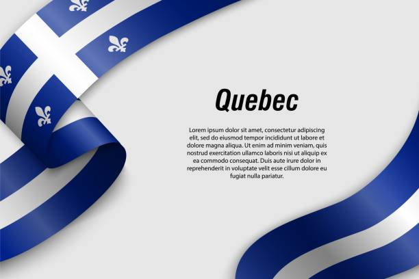 Waving ribbon or banner with flag Province of Canada Waving ribbon or banner with flag of Quebec. Province of Canada. Template for poster design quebec stock illustrations