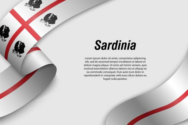 illustrazioni stock, clip art, cartoni animati e icone di tendenza di waving ribbon or banner with flag region of italy - sardegna